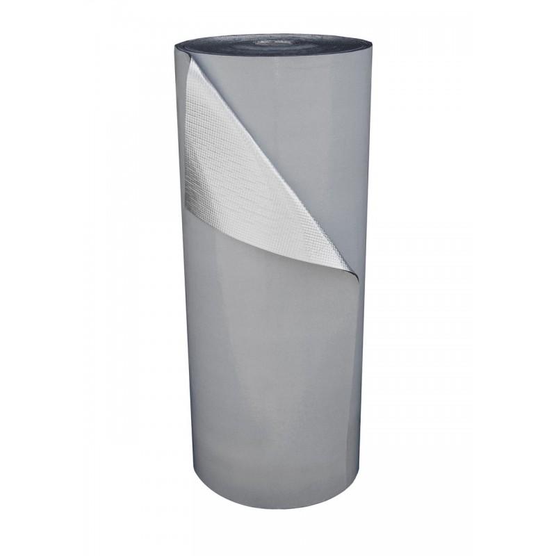 Пенополиэтилен Polifoam 4 мм самоклеящийся с отражающей слоем BOPP (3004/BOPP с клейким слоем, рулон 25 м.кв.), фото 1