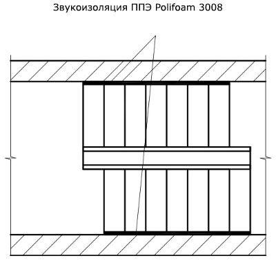 Звукоизоляция бетонной лестницы. Схема 1